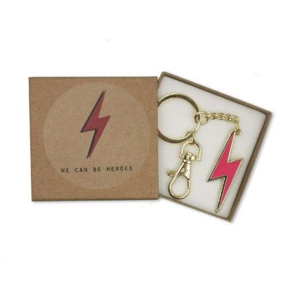 Pink Lightning Bolt Keychain