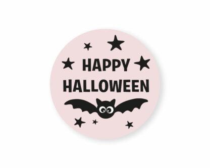 eco friendly pink happy halloween stickers