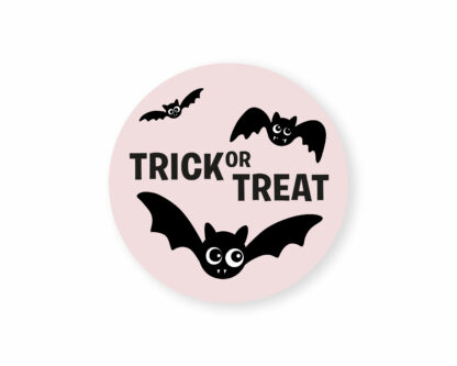 pink 100% recycled trick or treat stickers