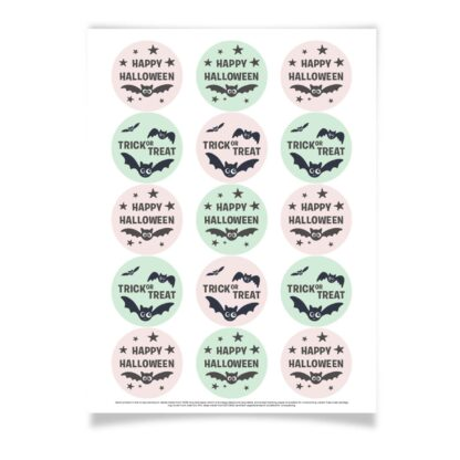 pink happy halloween stickers