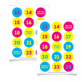 eco friendly colourful advent calendar stickers pink blue and yellow