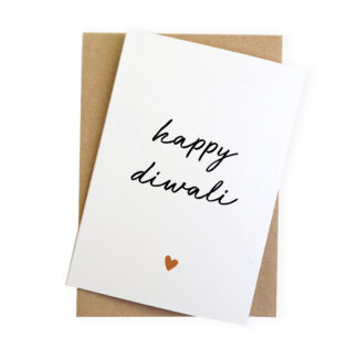 happy diwali modern hindu sikh festival of lights card with a hand letter pressed copper foil heart